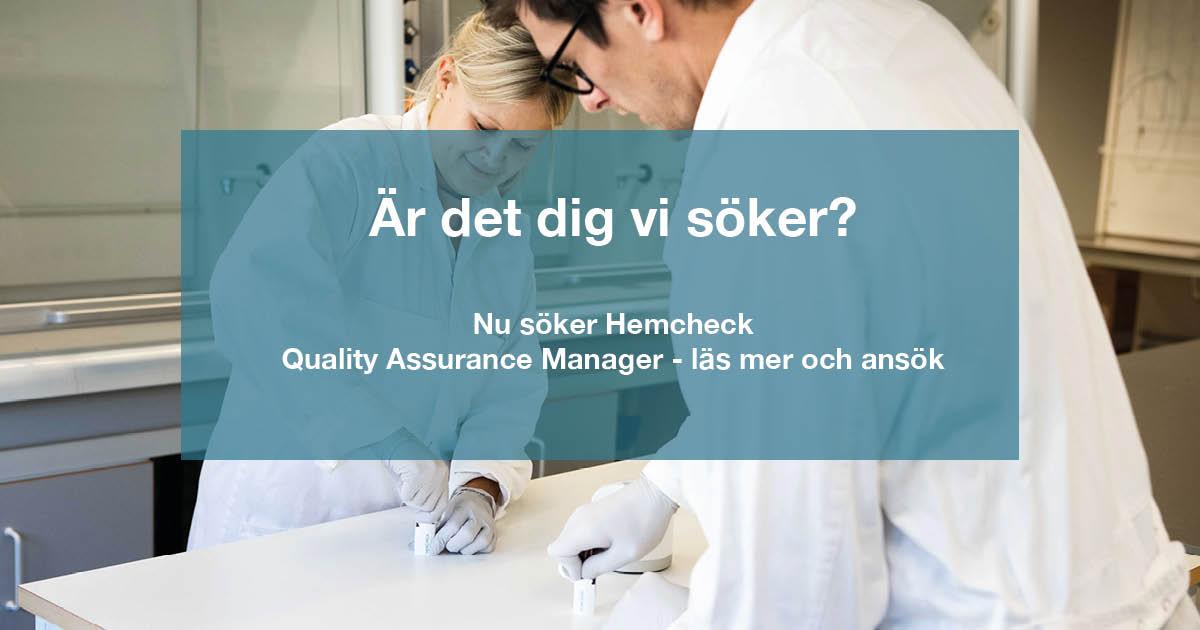 Hemcheck söker Quality Assurance Manager - är det dig vi söker?